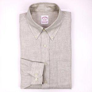 Brooks Brothers Linen Shirt Medium Beige Mens Iris